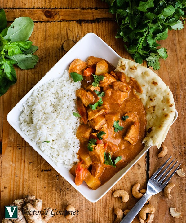 cashew chicken saucy curry ginger garlic lime victoria gourmet recipe