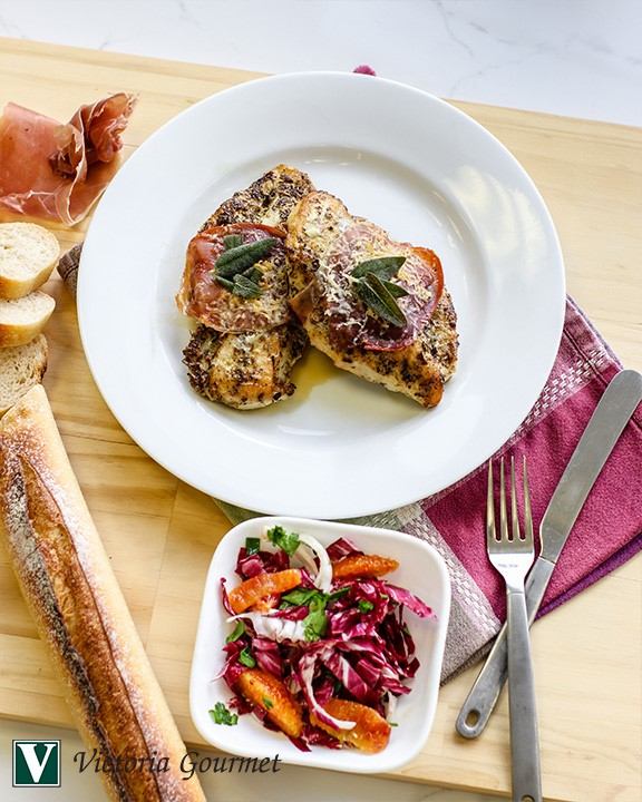chicken saltimbocca sage thyme garlic citrus victoria gourmet recipe