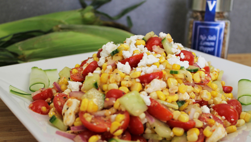 Corn Salad with Feta and Lemon pepper