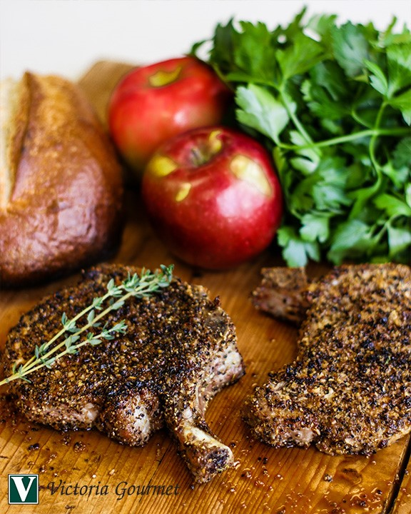 cracked black pepper pork chops roasted victoria gourmet recipe