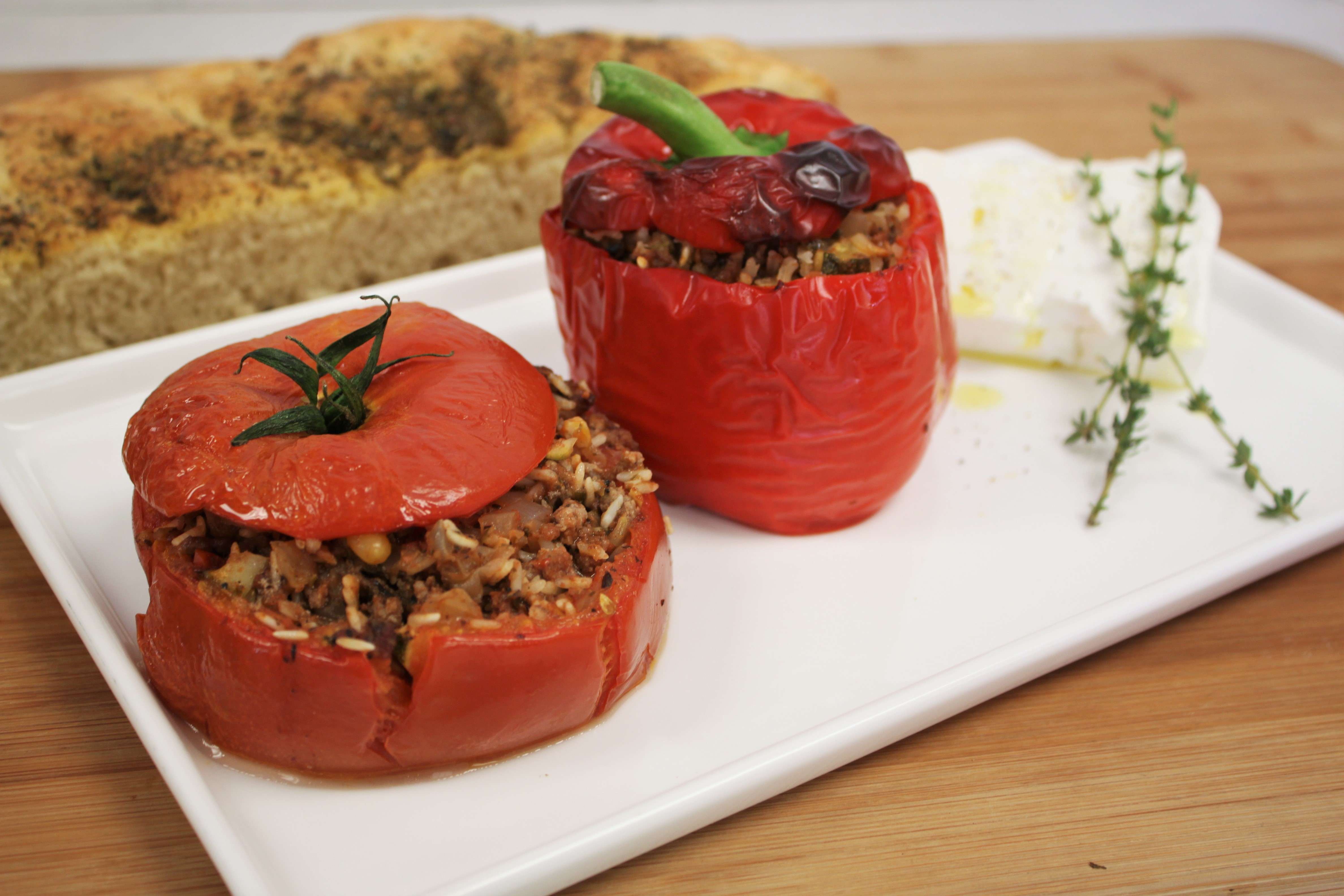 mediterranean stuffed peppers tomatoes seasoning onions victoria gourmet recipe