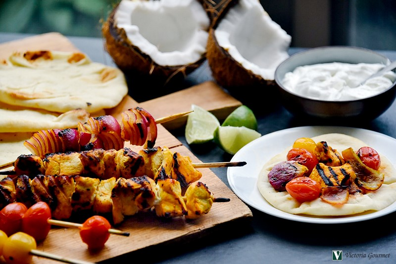 indian spiced chicken skewers turmeric spices victoria gourmet recipe
