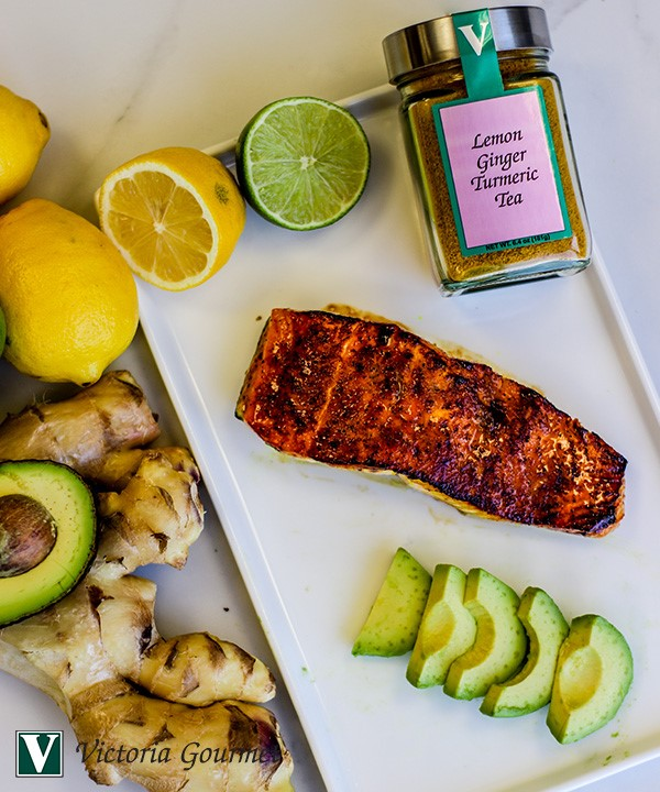 pan seared salmon lemon ginger turmeric tea victoria gourmet recipe