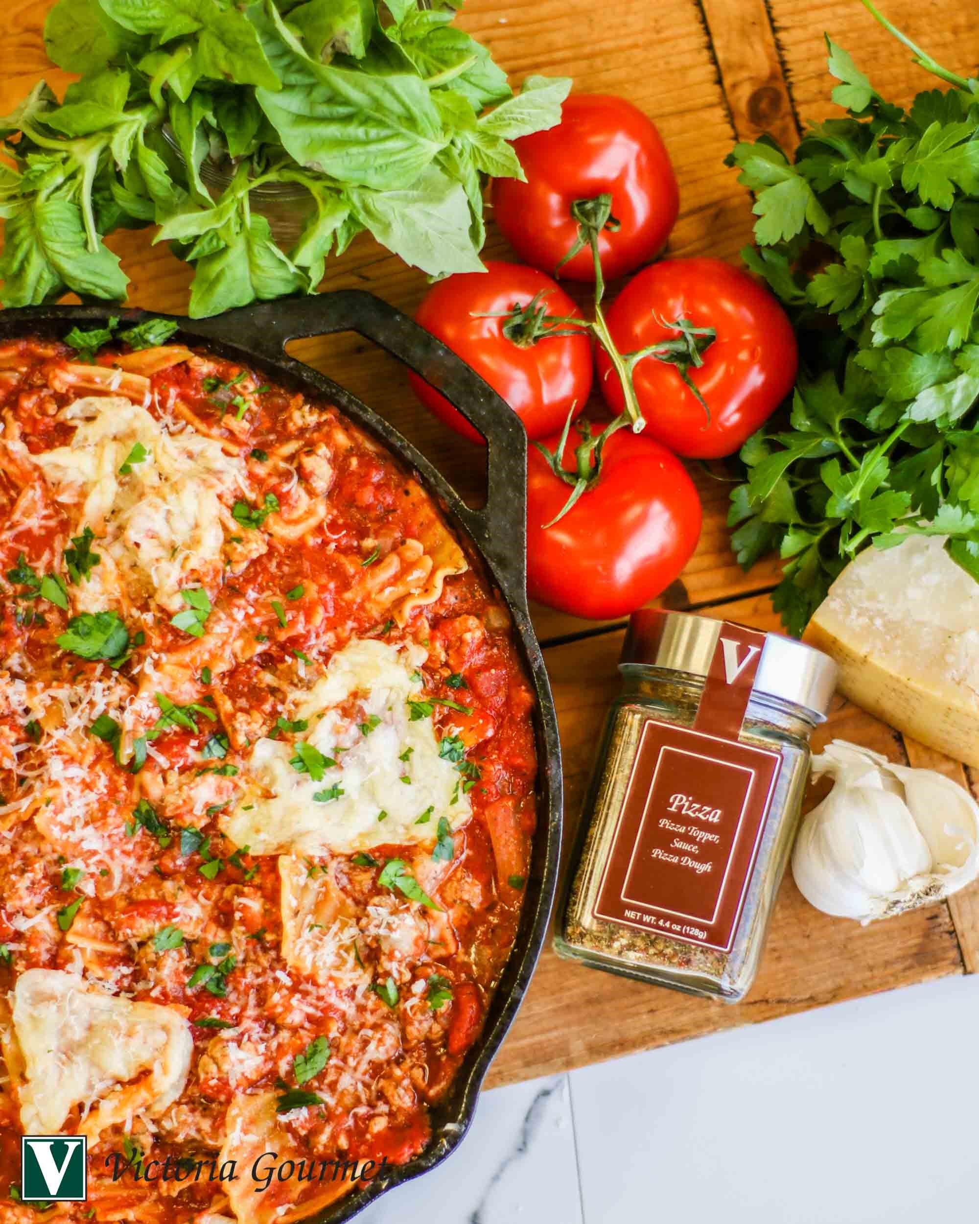 skillet lasagna pizza seasoning spices victoria gourmet recipes