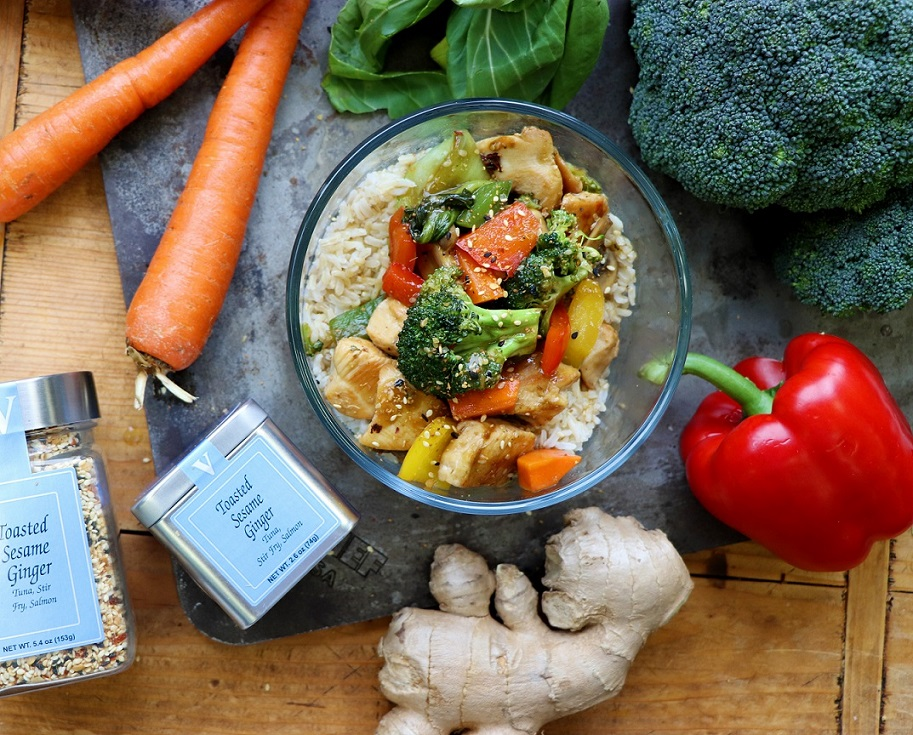 chicken veggie stir fry toasted sesame ginger victoria gourmet recipe