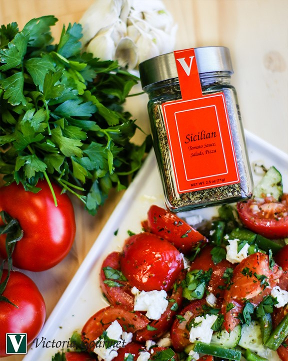 sicilian tomato cucumber feta salad seasoning spices victoria gourmet recipes