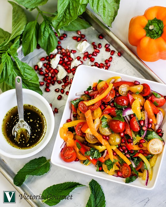 tomato pomegranate salad za'atar seasoning victoria gourmet recipes