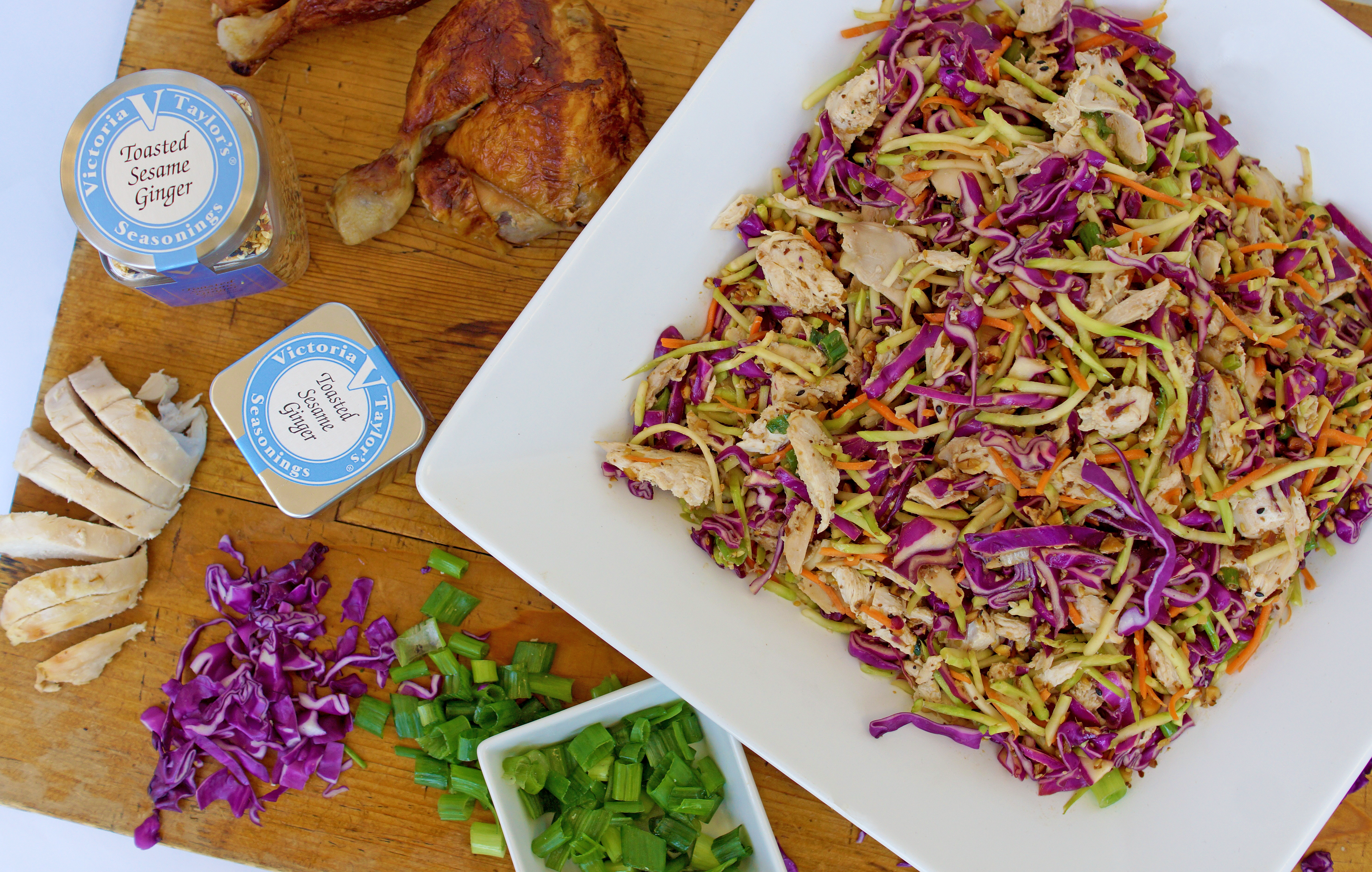 asian chicken salad toasted sesame ginger victoria gourmet recipe