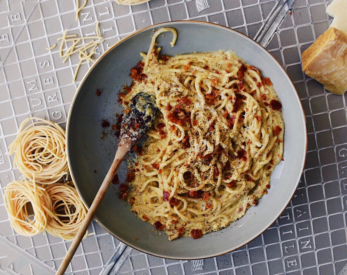 classic spaghetti carbonara black pepper cheese victoria gourmet recipe