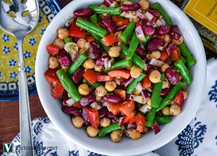 mediterranean three bean salad seasoning spices victoria gourmet recipe