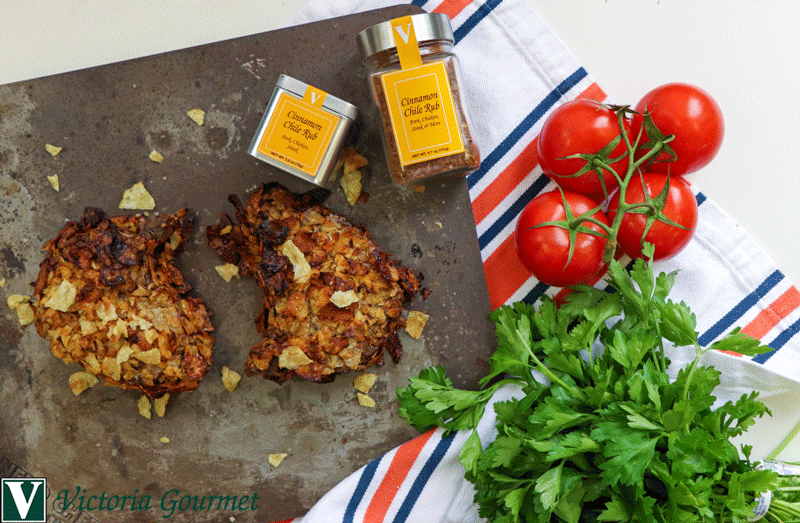 cinnamon chile pork chops potato chip crust rub victoria gourmet recipe