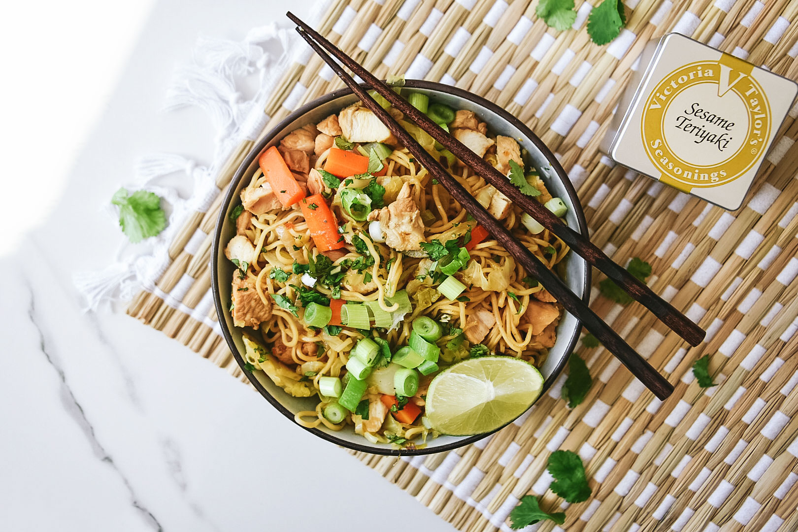 one-pot chicken chow mein sesame teriyaki seasoning victoria gourmet recipe