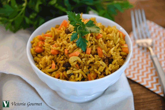 curried carrot raisin cashew pilaf seasoning victoria gourmet recipe