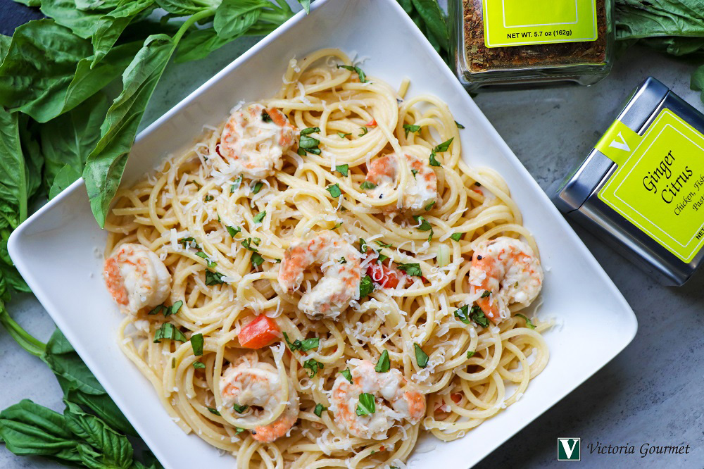 ginger citrus pasta shrimp seasoning victoria gourmet recipe