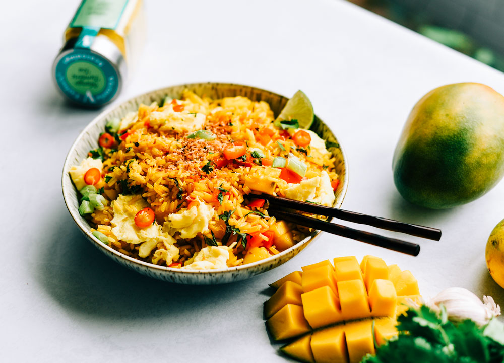 mango fried rice mango tumeric tea spices victoria gourmet recipe
