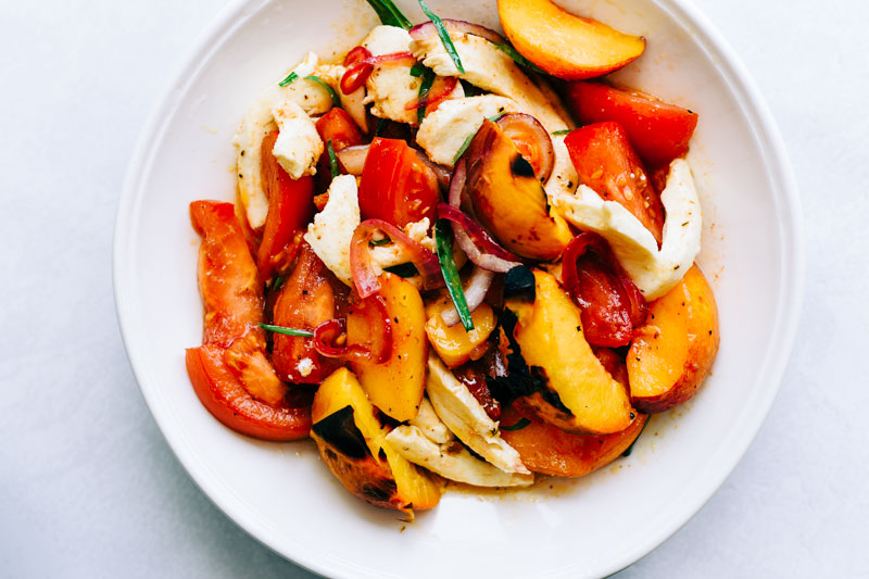 peach tomato salad blackening rub spices victoria gourmet recipe