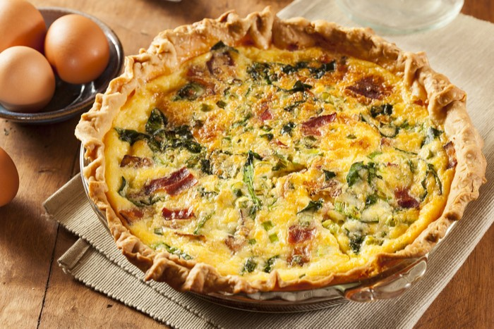 fire-roasted tomato bacon quiche mustard spice victoria gourmet recipe