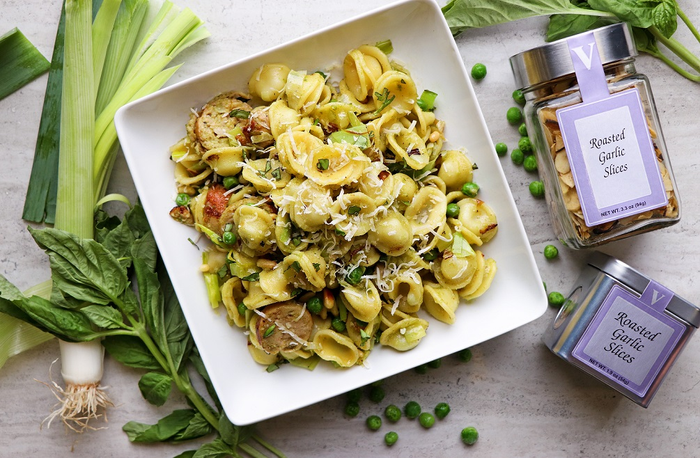 orecchiette roasted garlic basil oil victoria gourmet recipe