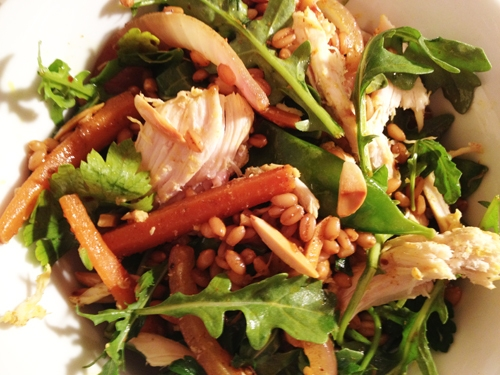 Curried Chicken Salad with Arugula and Wheat Berries