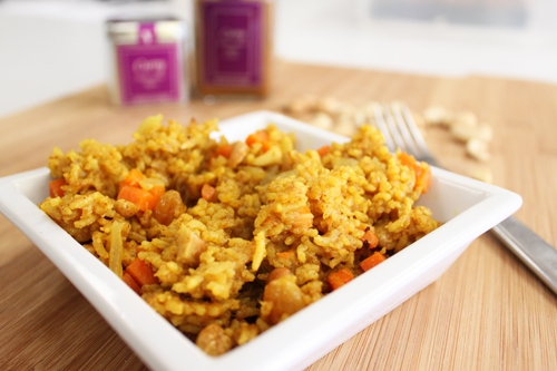 Curried Carrot and Raisin Pilaf with Cashews