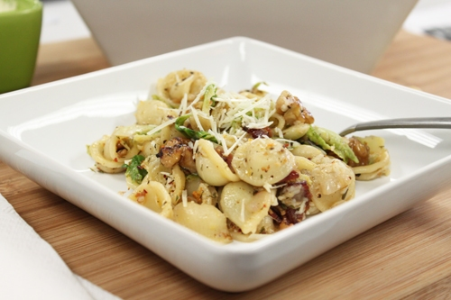 Orecchiette Pasta with Brussels Sprouts, Walnuts and Bacon
