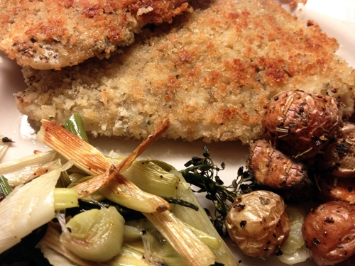 White Fish Fillets with Herb Bread Crumbs