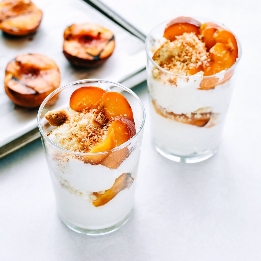 grilled peach parfaits ginger honey crystals victoria gourmet recipe