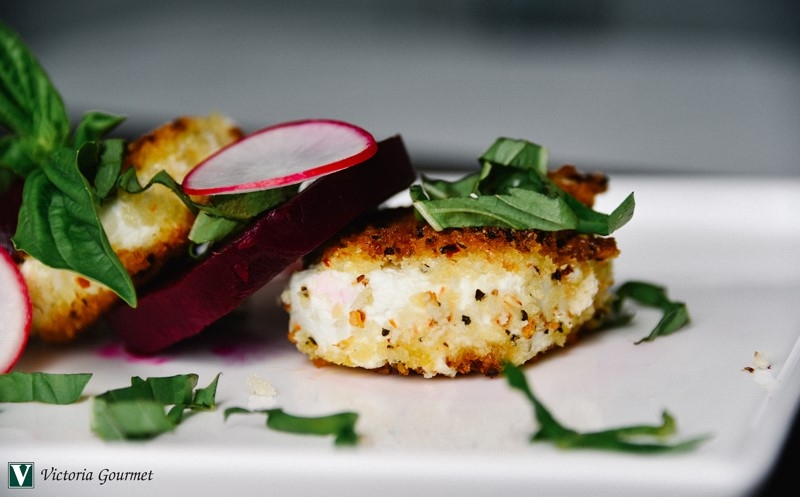 beet honey aleppo pepper fried goat cheese victoria gourmet recipe