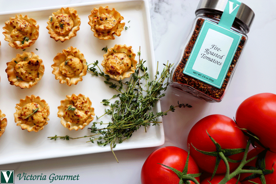 fire-roasted tomato goat cheese tartlet victoria gourmet recipe