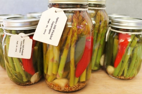 Spicy Pickled Green Beans and Asparagus