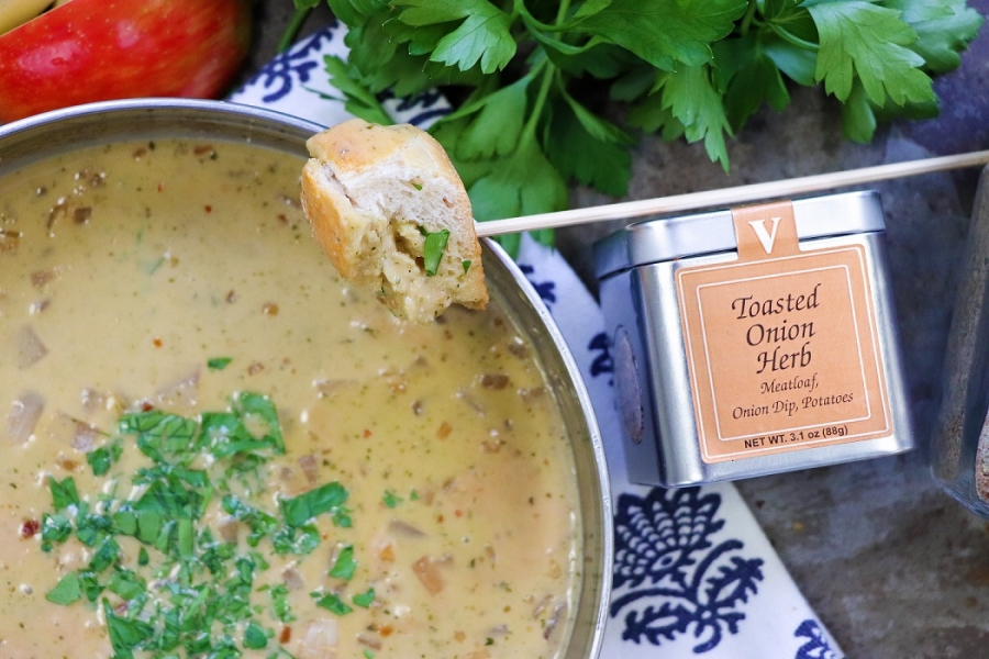 caramelized onion fondue toasted herb victoria gourmet recipe