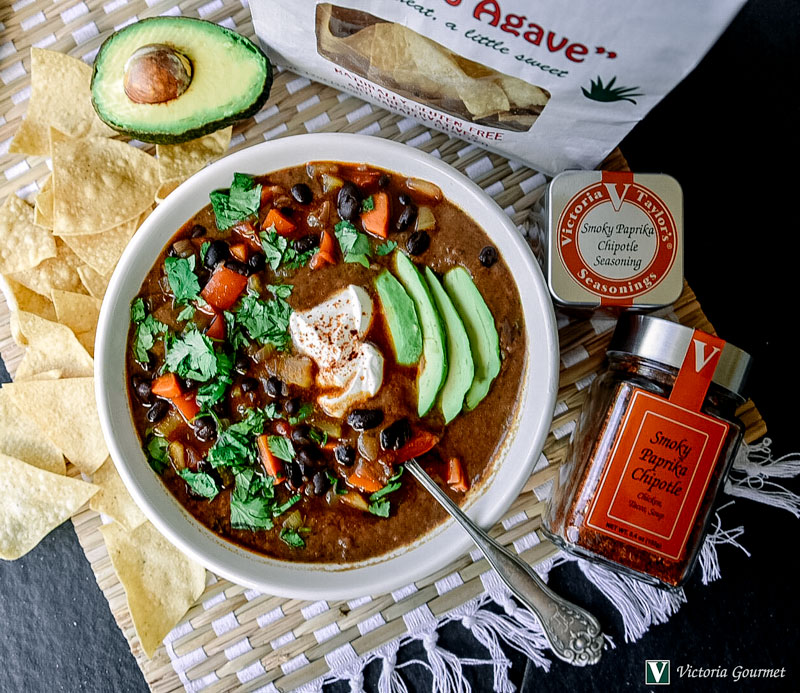 black bean soup smoky paprika chipotle cumin victoria gourmet recipe