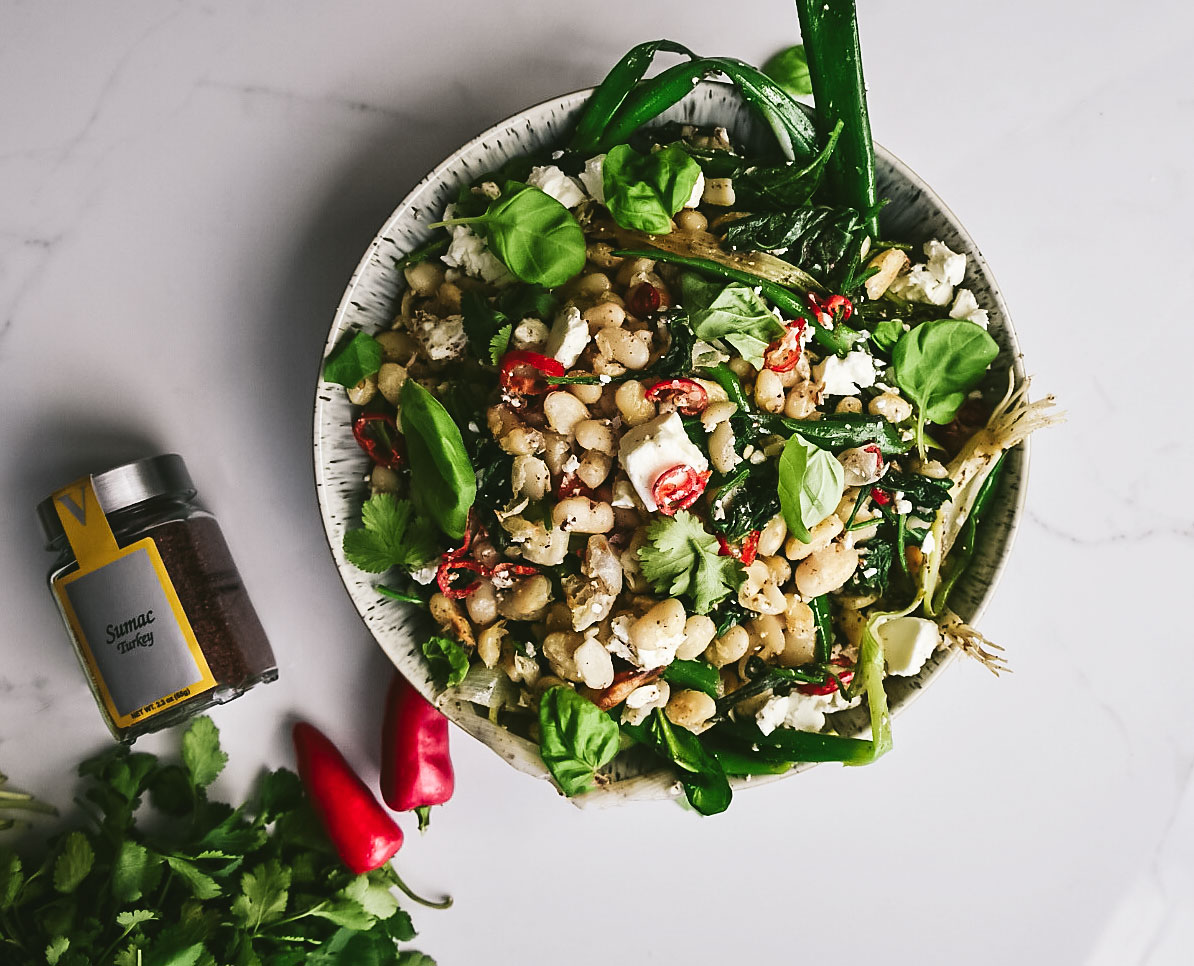 fried beans feta spinach sumac citrus victoria gourmet recipe