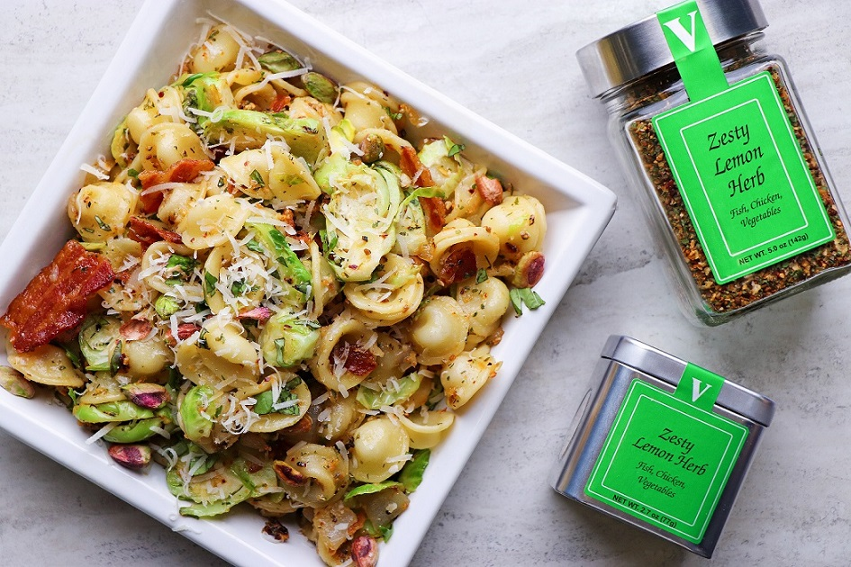 lemon herb pasta brussel sprout walnut bacon victoria gourmet recipe